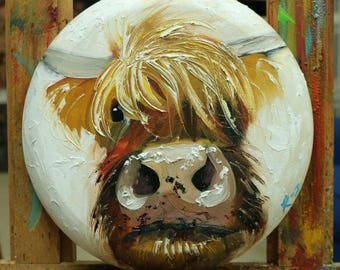 Cow painting 1224 12 inch diameter original animal portrait oil painting by Roz