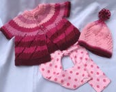 Hand Knit Baby Sweater, Pink Hat, Sweater Hat Set, Baby outfit, Newborn Sweater, Baby Sweater, Baby Hat, Pink Baby Sweater, Handknit