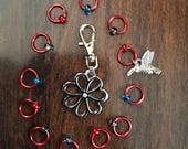 Hummingbird and Flower Stitch Markers, Flower Progress Keeper, Clip on Charm, Knitter notions, stitchmarkers, snagless, gift, red rings