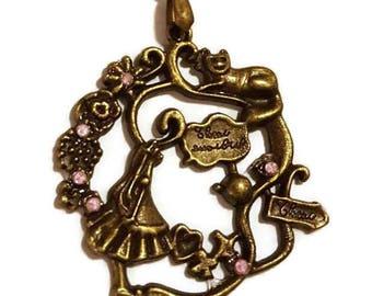Alice in Wonderland Bronze Necklace - pink