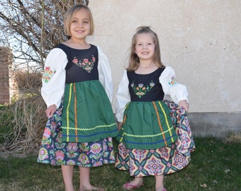 Cute Swedish National Girls Costume Scandinavian Sweden