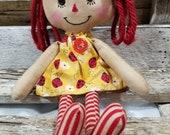 Raggedy Annie Primitive Dolls Lil Nancy Annie Raggedy Ann Doll Lady Bug Annie Dress