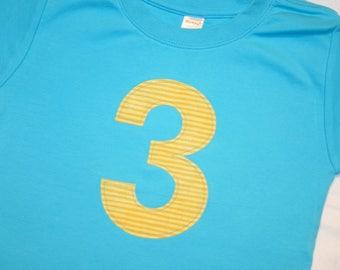Boys Third Birthday Number 3 Shirt - short sleeved aqua blue shirt with number 3 yellow stripe