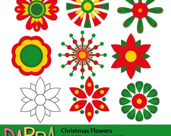 Christmas clipart red green / flower clipart commercial use / Christmas flowers clip art commercial use, instant download, digital images
