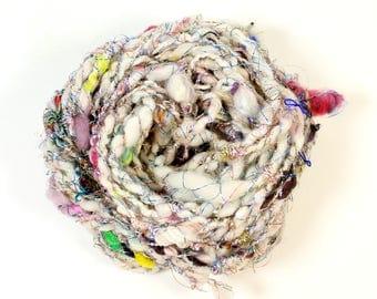 disco 1  .. hand spun art yarn, wool yarn, handspun, soft rainbow knitting wool, weaving, crochet supply
