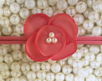 Preemie Headband, Coral Baby Headband, Small Bows, Baby Bows, Newborn headbands, Nylon Headbands,Baby hair bows, Flower Headband Coral Bow