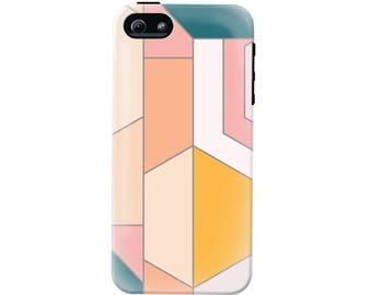Modern Geometric Phone Case (fits all types of phones) - Tough case with rubber bumper and liner