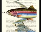 "A River Runs through It, The Last page, Norman Maclean 8"" X 10"" Rainbow Trout Art Print Great English Literature Student or teacher gift"