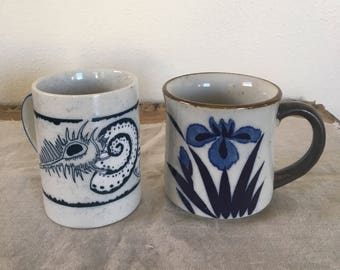 Vintage Mugs, Pottery Mug Set, Summer Style Coffee Mugs, Two Cups, Tea Cups, Tea for Two