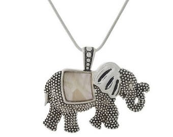Mother of Pearl Elephant Pendant Necklace