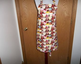 Cupcake Apron Full Women's Apron Reversible Front Pocket Chef Apron Cup Cake Novelty Apron Cooking Apron Adjustable Neck Strap Gift Handmade