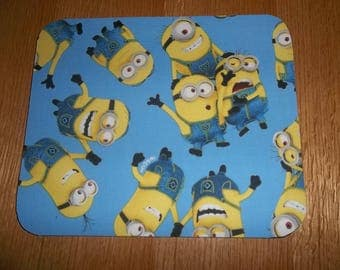 Mouse Pad, Yellow Minions, Mouse Pads, on Blue Desk Accessories Office Decor Handmade Gift MousePad Rectangle Mouse Mat Computer Mouse Pad