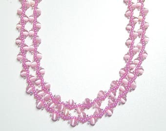 pink fiber optic pearl necklace,long necklace,pink necklace,pink beaded necklace,handmade pink fiber optic necklace,wedding,bridesmaid gift