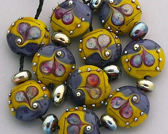 DSG Beads~Artisan Debbie Sanders Handmade Lampwork Glass Beads Organic Purple And Yellow Orchard Silver Glass~Autumn Hearts