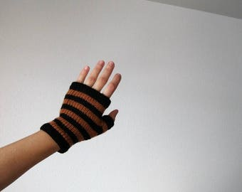 First Fall Sale - 15% Off PERSIMMION and COAL glovelets - orange and black striped hand knit fingerless gloves in soft merino wool - clearan