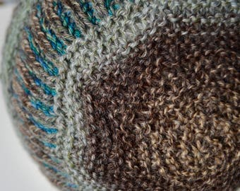 Hand Knit Men's Hat With Subtle Earflap Shaping in Earthy Greys and Aqua Teal - Sturdy Wool/Nylon Blend Yarn, Shaped Hat, Textured Hat