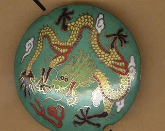 vintage CLOISONNE BEAD a DRAGON bead enamel bead antique bead large vintage bead antique cloisonne