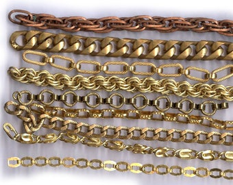 BOX LOT vintage chain sections fancy designs BRASS metal chains add length antique chain repurpose chain patina ox chain