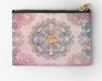 pretty carry-all pouch- mandala design- pink and blue- cosmetic organizer- pencil case- purse organizer- phone holder- gift for her