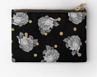 artist designed carry all pouch-black gold gray-floral pattern-roses-gold dots-coin purse-purse organizer-cosmetic bag-make up bag-gift idea