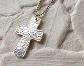 Fine Silver Rose Embossed Cross Pendant