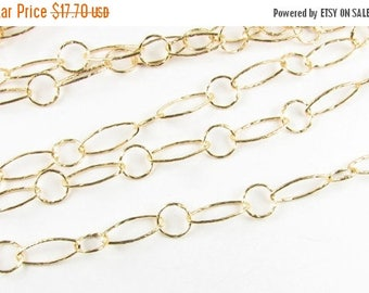 SHOP SALE Textured Ovals and Circles Bright Gold Filled, Gold Fill Bubble Chain 12mm and 7mm, Jewelry Chain, Necklace Chain (12 inches)