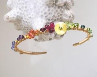 Multi Gemstone 14k Gold Filled Cuff, Rainbow Wire Wrapped Stackable Bracelet with Sapphire, Peridot, Garnet, Tanzanite