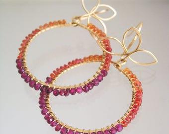 Gemstone Hoops, Orange Sapphire and Rhodolite Garnet Earrings with Petal Hooks, 14k Gold Filled Dangles, Artisan Made, Colorblock Design