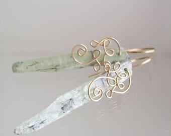 Long Green Kyanite Earrings, Linear Kyanite Blade Dangles, 14k Gold Filled Scrolled Design, Lightweight, Ethereal, Modern Bohemian