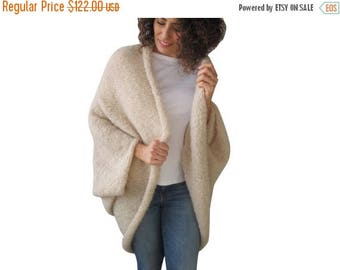 50% CLEARENCE Cream Wool Plus Size Oversize Overcoat Poncho Cardigan