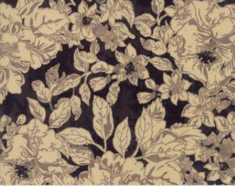 Maven Fabric - Half Yard - Moda Fabric Tan Brown Floral Flowers on Onyx Black Cotton Quilt Fabric Basicgrey Basic Grey Gray 30461 22