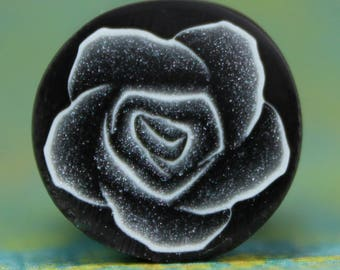 Black, Silver, and White Polymer Clay Rose Flower Cane -'Nevermore' (17ee)