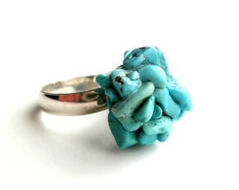 Natural Turquoise Sculpture Sterling Silver Adjustable Ring