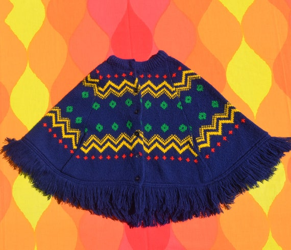 vintage 70s children's PONCHO shawl coat cape blanket rainbow fringe jacket hippie boho girls