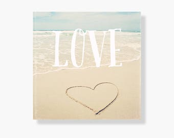 Beach photo canvas art, beach decor, pale blue, beach photography, ocean canvas art, beach photo canvas, love heart, typography - Beach Love