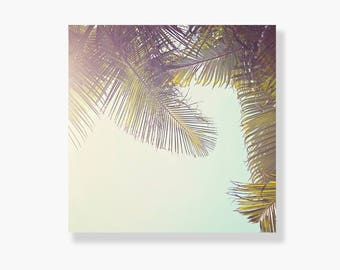Palm tree photo canvas gallery wrap, coastal decor, tropical decor, green, canvas wall art, coastal wall art, palm tree wall art - Sway