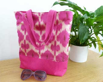 Handag, ikat fabric, magenta pink silk ikat fabric shoulder bag, tote bag