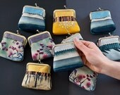 Coin purse, original wallet pouch, berries, blue stripe, polkadot, yellow