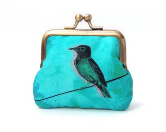 Coin purse, blue turquoise bird, silk pouch, bird on a wire