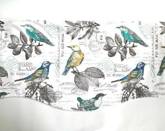Floral Bird Window Valance - Kitchen - Bedroom - Bath Topper - Straight or Curved-LINED - Blue - Yellow - Grey - Off White - Bright Blue