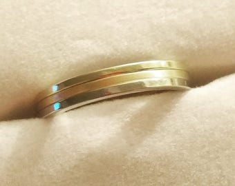 Memorial Day Sale 14 kt White and Yellow Gold Classic Stackable 1mm Wide Commitment or Wedding Band Custom made Size 4 through 12