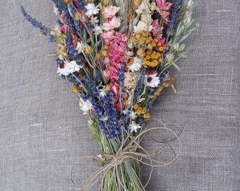 Warm Summer Wildflower Bright Pink and Yellow Wedding  Brides Bouquet of  Lavender Larkspur Dried Flowers