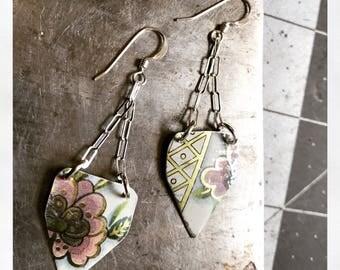 Vintage Tea Tin Floral Earrings