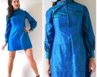 SALE SECTION / 50% off Vintage 60s Iridescent Blue-Green Thai Silk Mini Dress (size medium)