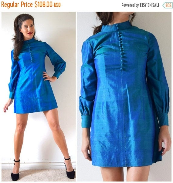 SALE SECTION / 50% off Vintage 60s Iridescent Blue-Green Thai Silk Mini Dress (size medium)