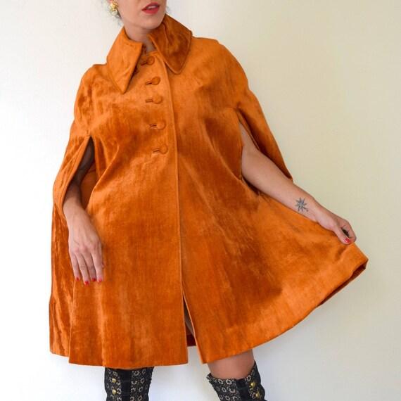SUMMER SALE/ 30% off Vintage 70s Burnt Orange Velvet Cape