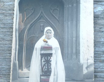 Vintage Antique 1900 French real photography black & white recolored girl  Holy communion