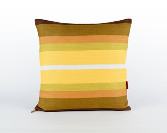 Modern Yellow Pillow Cover 18x18 -  Decorative cushion cover - couch pillow - vintage fabric - throw pillow cover - handmade by EllaOsix