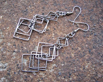 Eco-Friendly Dangle Earrings - Square Deal - Cascading Layers of Recycled Vintage Delicate Dark Silvertone Metal Squares in Different Sizes