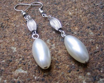 1/2 PRICE SALE Eco-Friendly Dangle Earrings  - Twist on a Classic - Recycled Vintage Ridged Metal Beads and White Plastic Oval Pearls